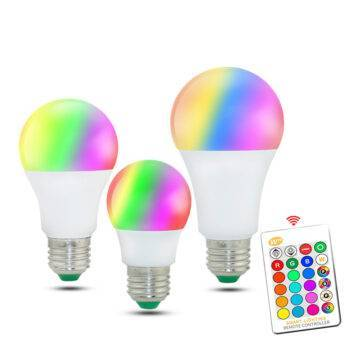 Universal E27 RGB LED Bulb with Remote Control Energy Savers Home and Garden LED Lighting SMART Accessories