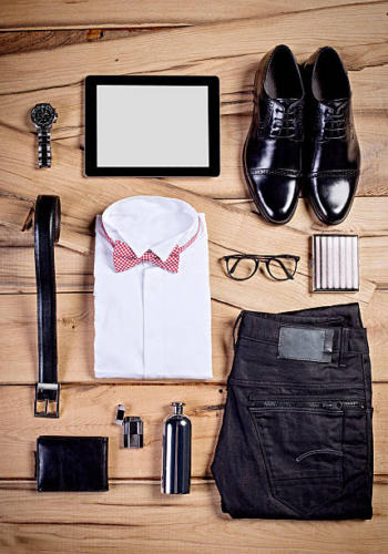 High angle shot of a smart  and a casual business  outfit